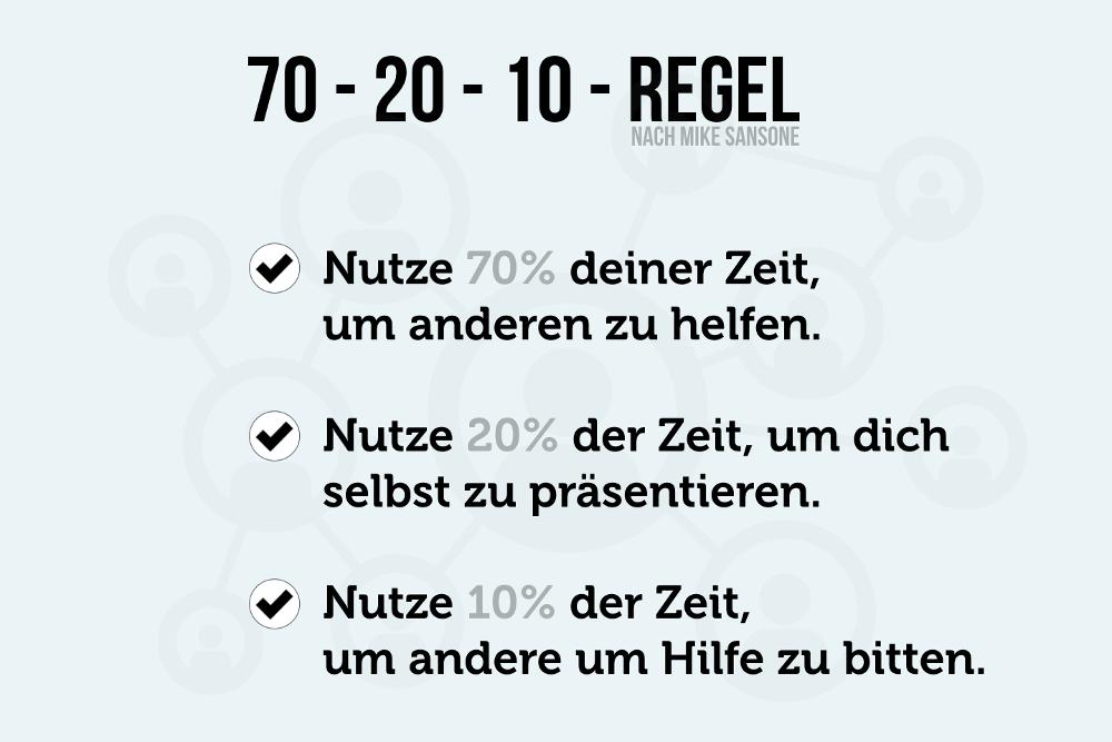 70-20-10-Formel Networking-Regel