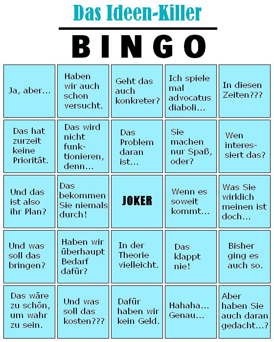 Ideen-Killer-Bingo