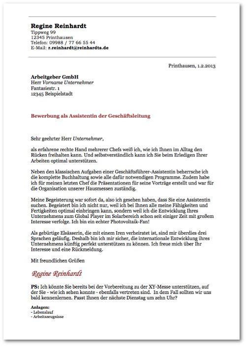 Bewerbungsmuster Anschreiben Vorlage Assistentin kostenlos Bewerbungsschreiben