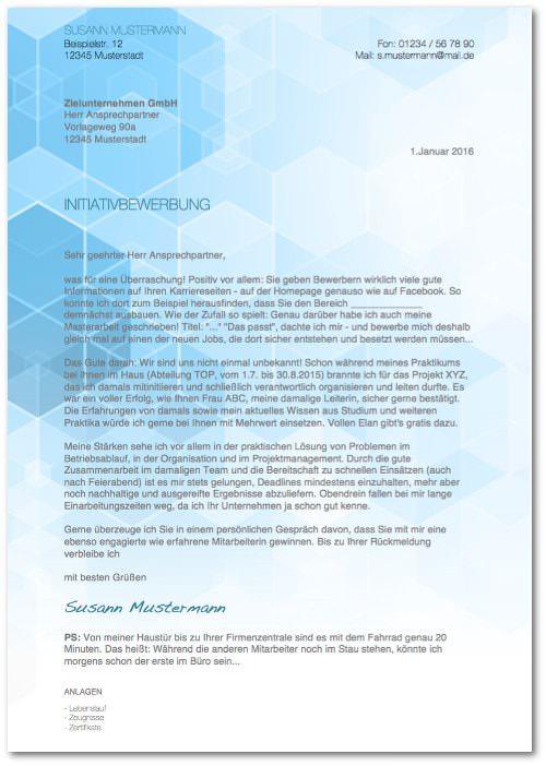 Initiativbewerbung Muster Beispiel Vorlage Design kostenlos Bewerbungsschreiben