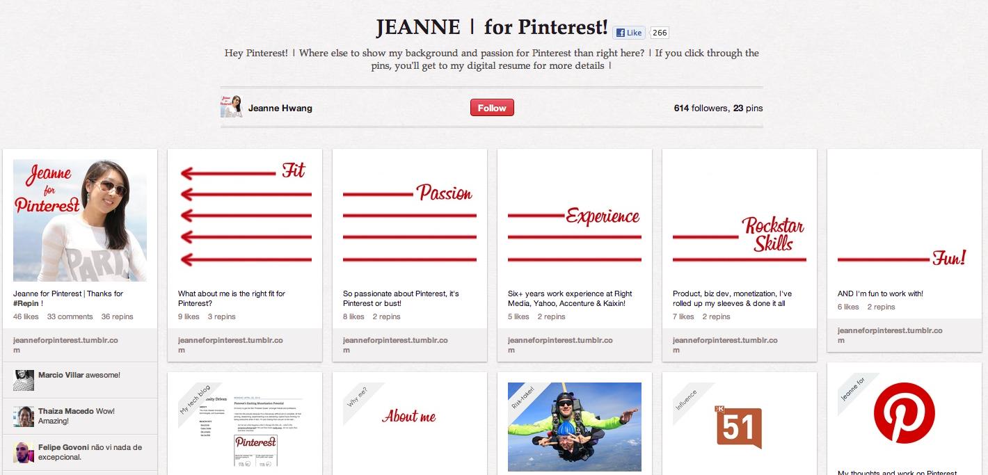 Kreative Bewerbung: Aussergewöhnlicher Lebenslauf im Pinterest-Stil ...