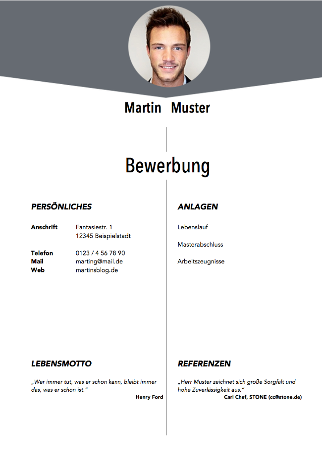 Deckblatt Vorlage Bewerbungsmuster Beispiel kostenlos Download