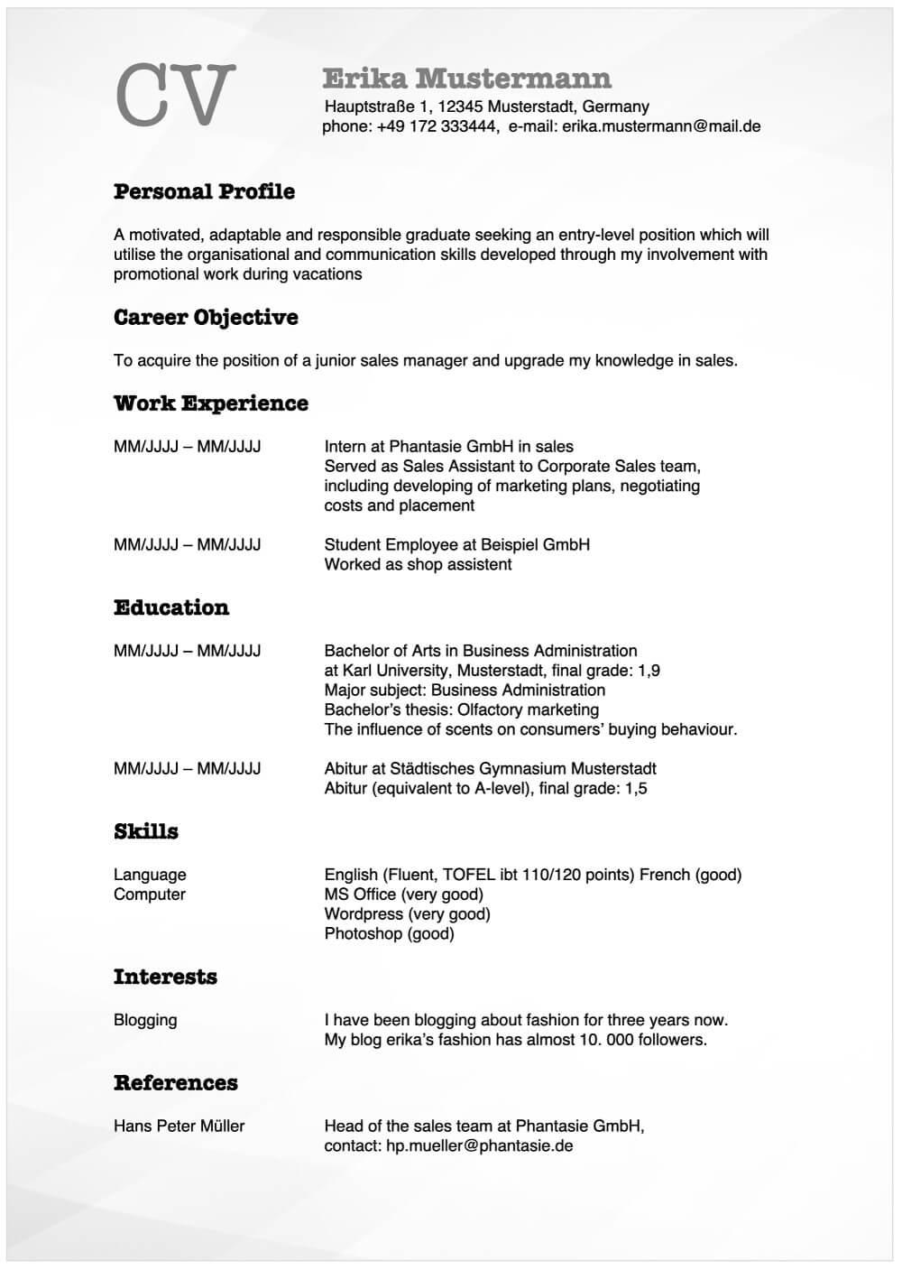 Lebenslauf auf Englisch Vorlage + Tipps für Resume und CV