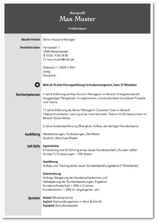 Kurzprofil Mustervorlage Design 02 kostenlos