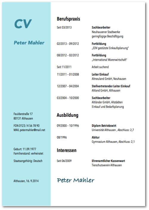 lebenslauf vorlage muster arbeitslosigkeit kostenlos - Lebenslauf Vorlage 2013
