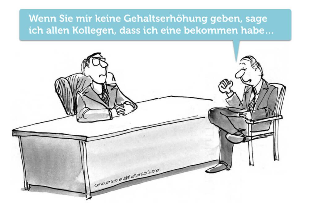 Gehaltserhoehung Cartoon Verhandlungstrick Geheimhaltung Vertraulichkeit