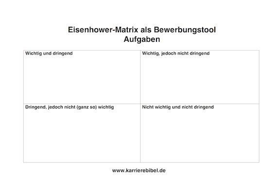 Eisenhower Matrix-Bewerbung-Vorlage-Aufaben