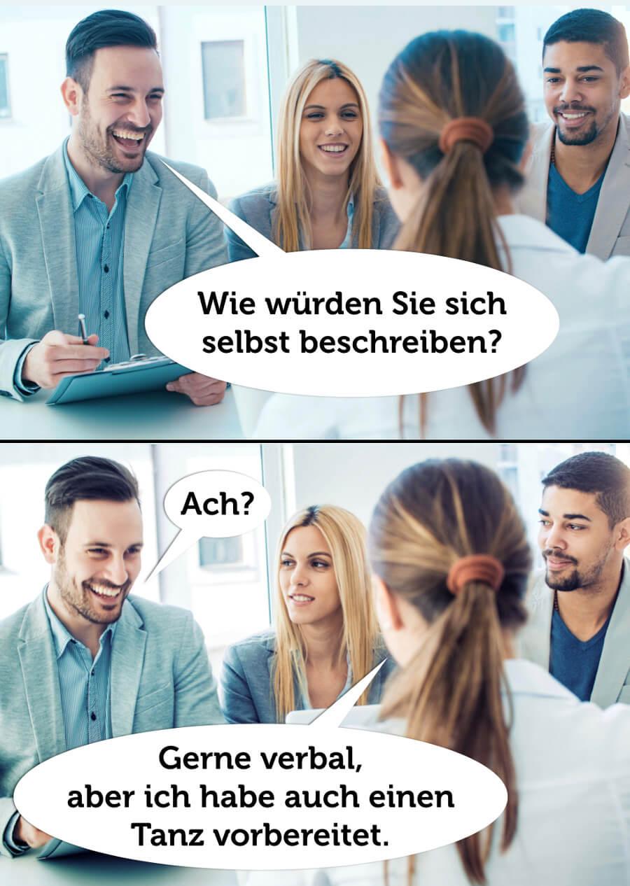 Humor Vorstellungsgespraech Selbstbeschreibung Jobinteriew Satire