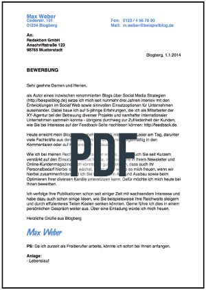 Blindbewerbung Vorlage PDF