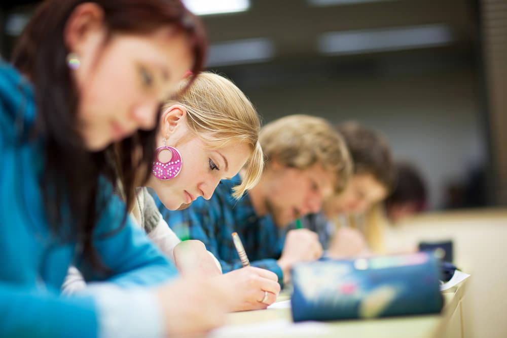 Studenten-Lernen-Gruppe-Uni-Vokabeln