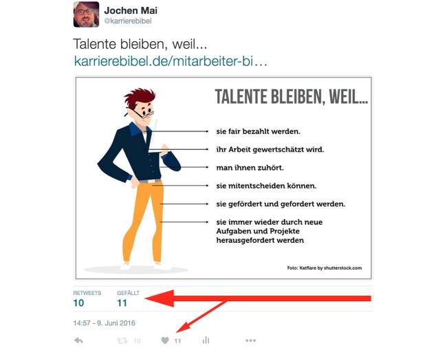 Favoriten-Herzen-Twitter-Beispiel