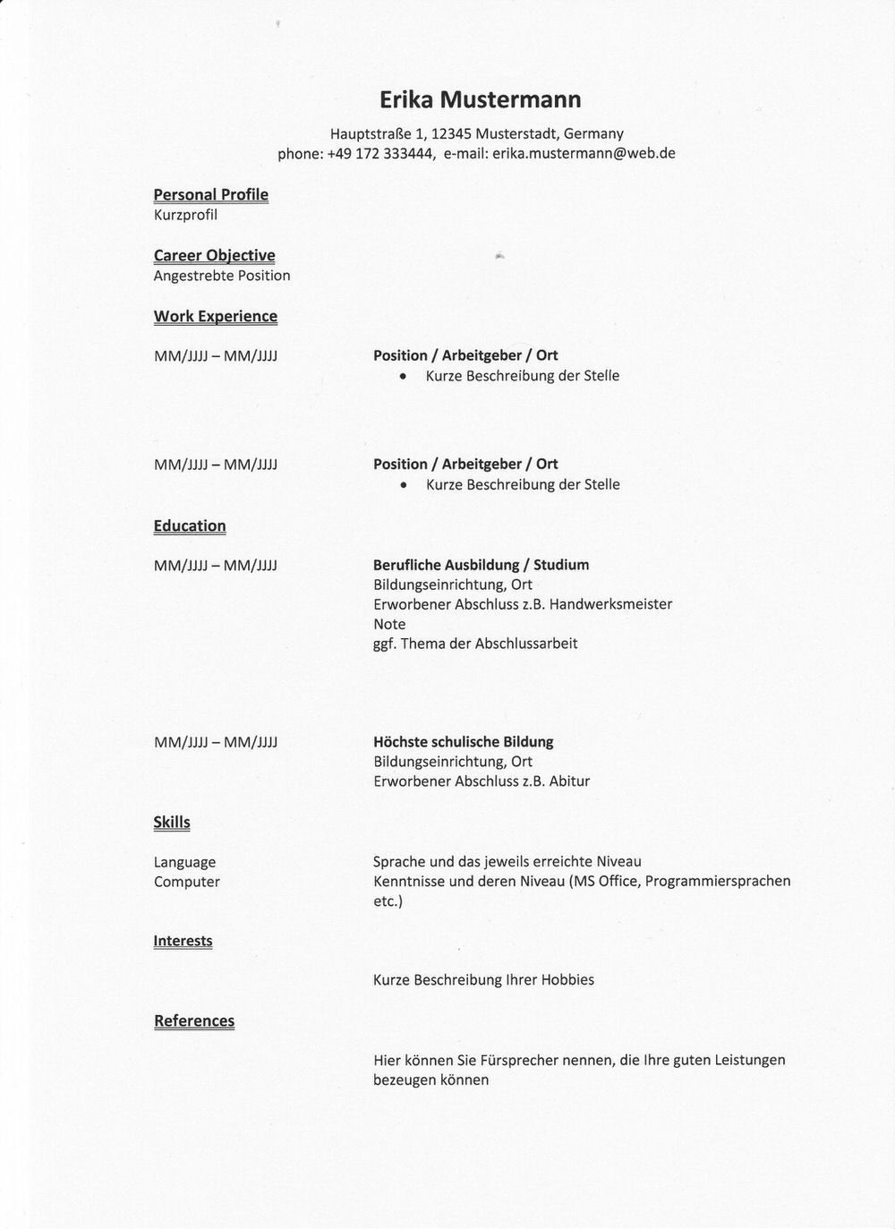 CV RESUME Resume Cv Deutsch
