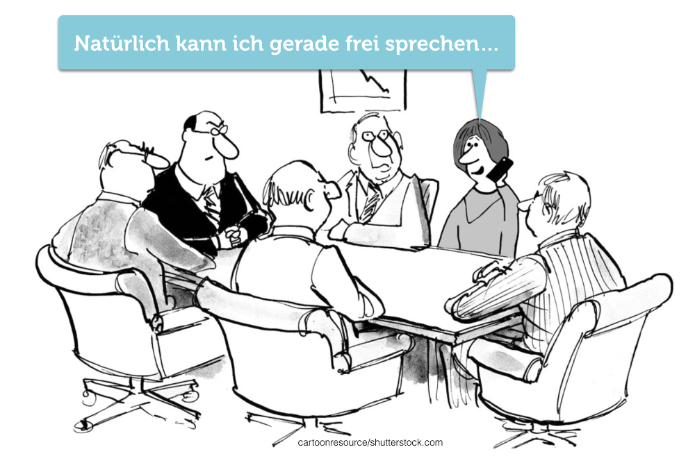 Frei-sprechen-storen-Meeting-Cartoon