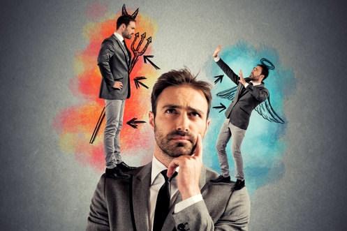 Selbstbeherrschung-Selbstdisziplin-Engel-Teufel
