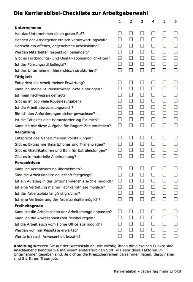 Berufswahl-Checkliste-Vorschau