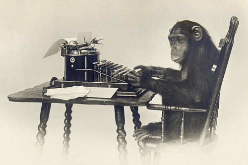 Infinite-Monkey-Theorem: Affe schreibt Shakespeare
