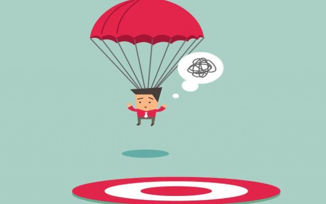 Ziel-verfehlt-Fallschirm-Zielstrebig