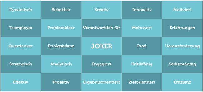 Bewerbungsgespräch-Bullshit-Bingo-Grafik