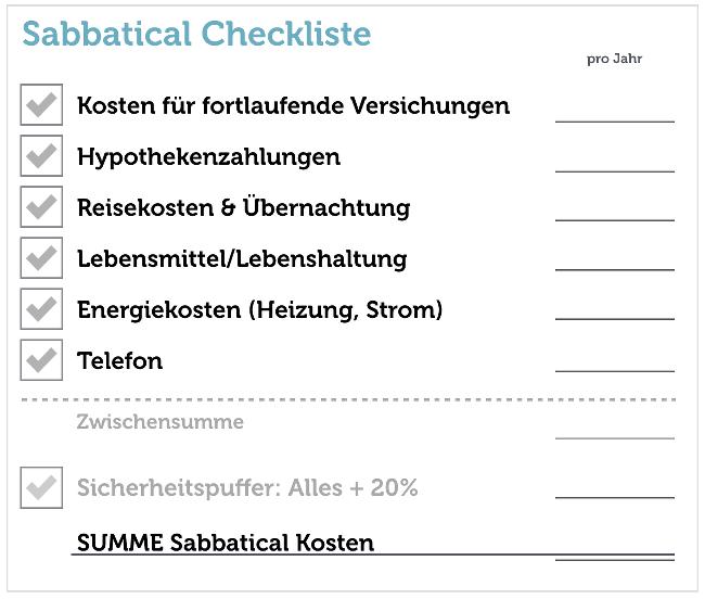 Sabbatical-Kosten-Checkliste