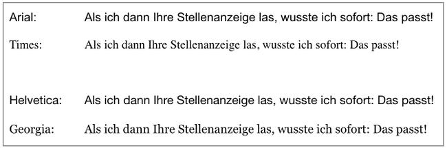 schriftarten vergleich beispiel - Bewerbung Schriftart Und Grose