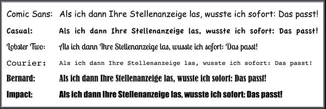 ungeeignete schriftarten bewerbung - Bewerbung Schriftgrose