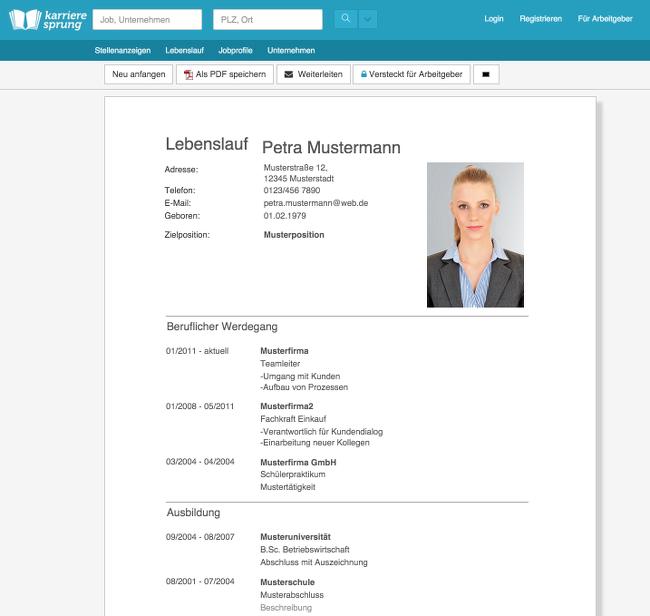 Karrieresprung-Lebenslauf-Editor