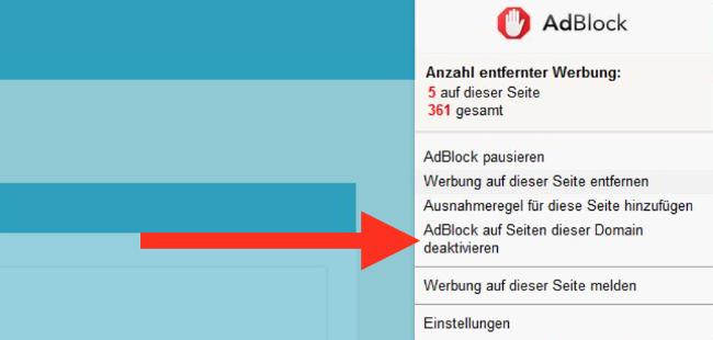 Adblocker Domain deaktivieren Hinweis