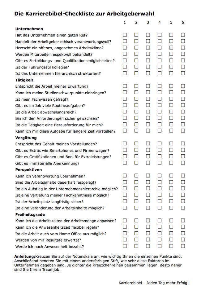Berufswahl Test Fragebogen Checkliste Pdf