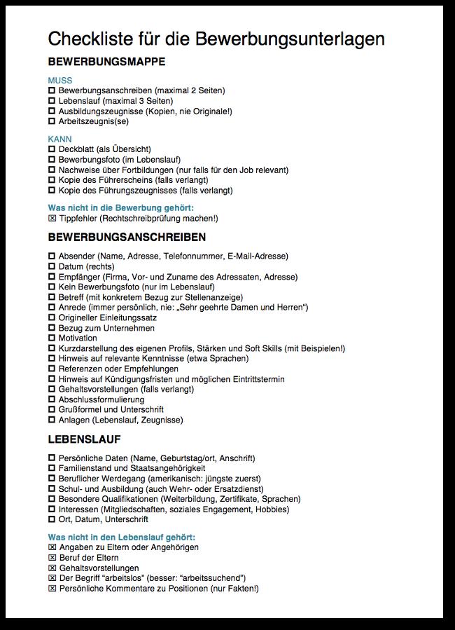 checklisten als gratis download - Lebenslauf Referendariat