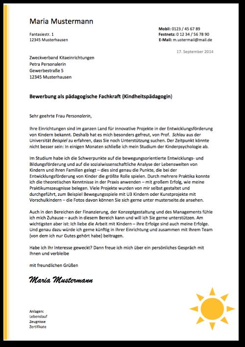 Bewerbungsmuster-Anschreiben-Paedagogische Fachkraft-Vorschau