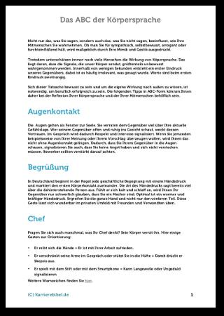 Körpersprache Psychologie ABC Tipps PDF Ebook Cover