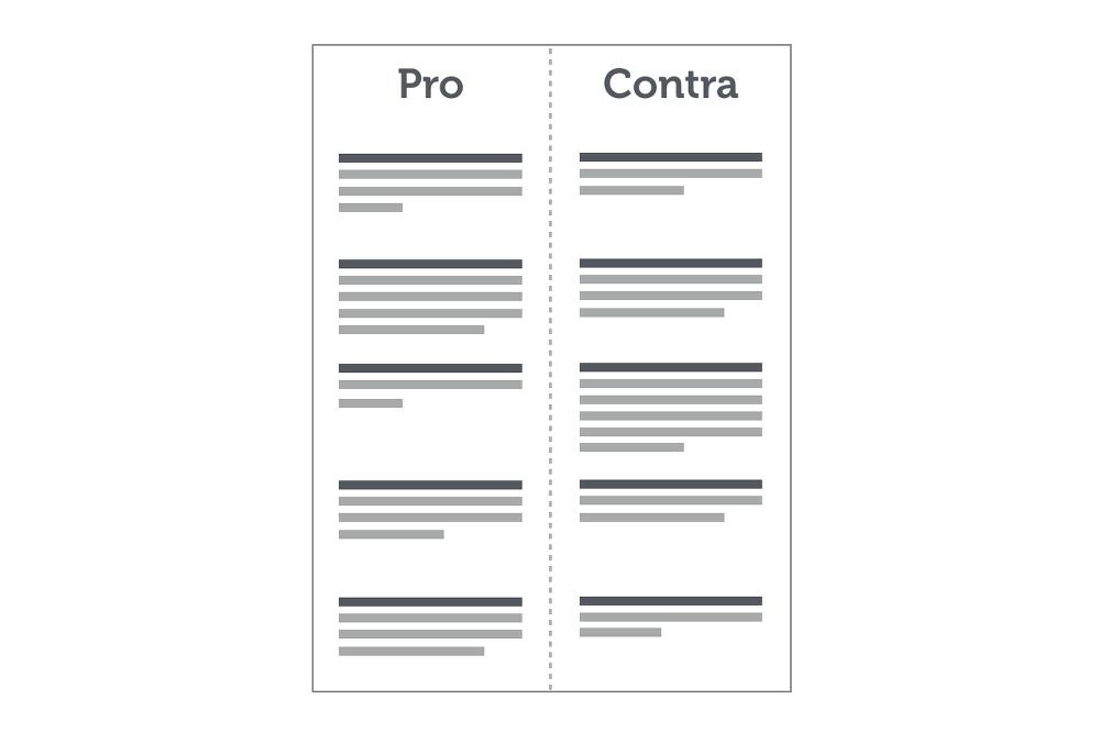 Entscheidungsfindung Pro Contra Liste