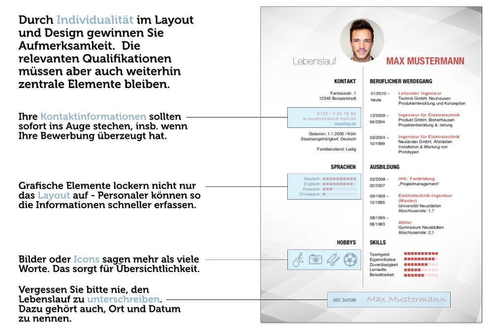 bewerbungstipps lebenslauf layout design gestaltung - Bewerbungs Tipps