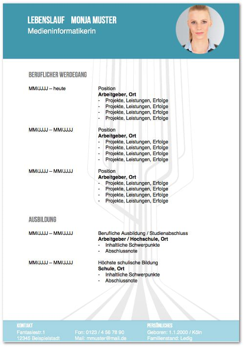 Lebenslauf Muster Design 03 kostenlose Vorlage