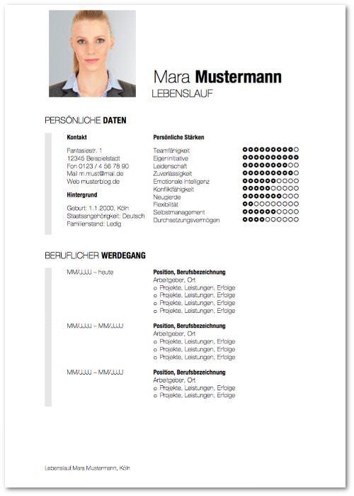 Lebenslauf Muster Design 11 kostenlose Vorlage