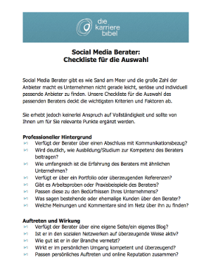 Social Media Berater PDF Checkliste