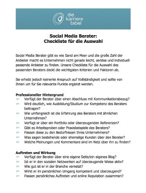 Social Media Berater PDF Checkliste
