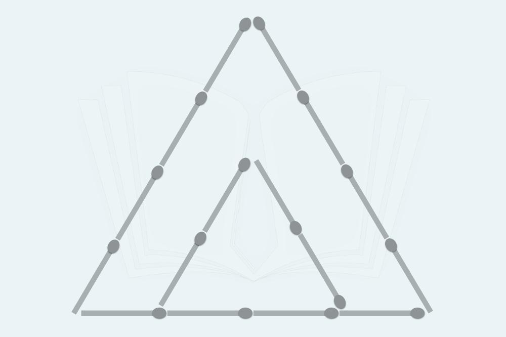 Streichholzrätsel: Drei Dreiecke aus zwei machen