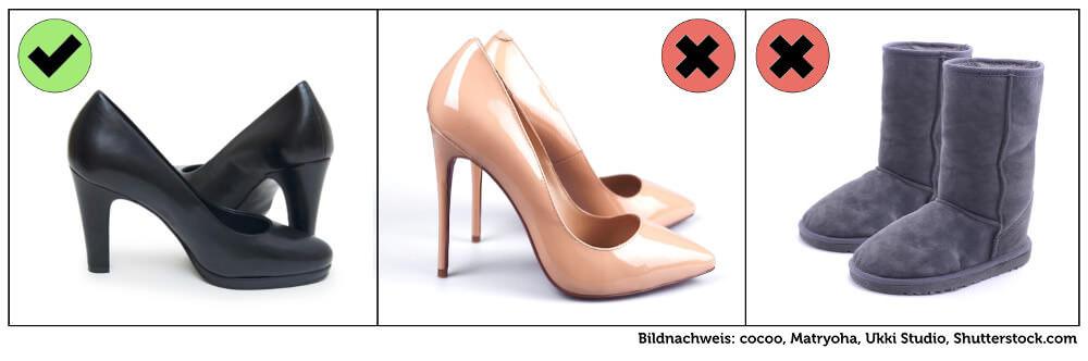 Kleidung Vorstellungsgespraech Frau Damen Schuhe Grafik