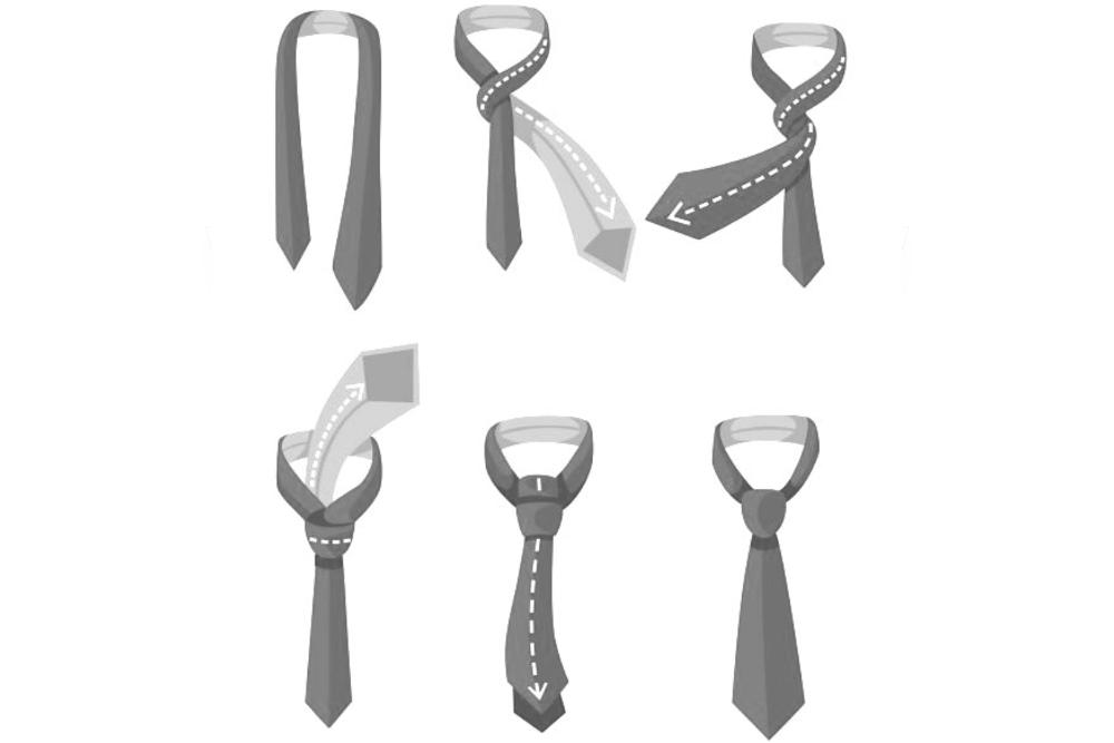 Krawatte binden Doppelknoten