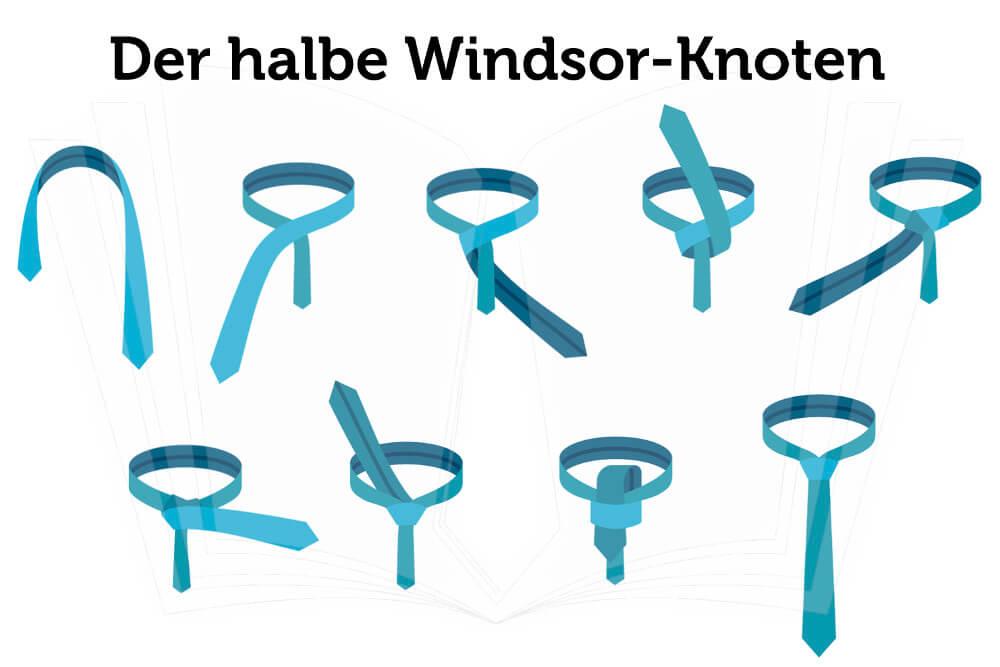Krawatte Binden Halber Windsor Knoten Anleitung