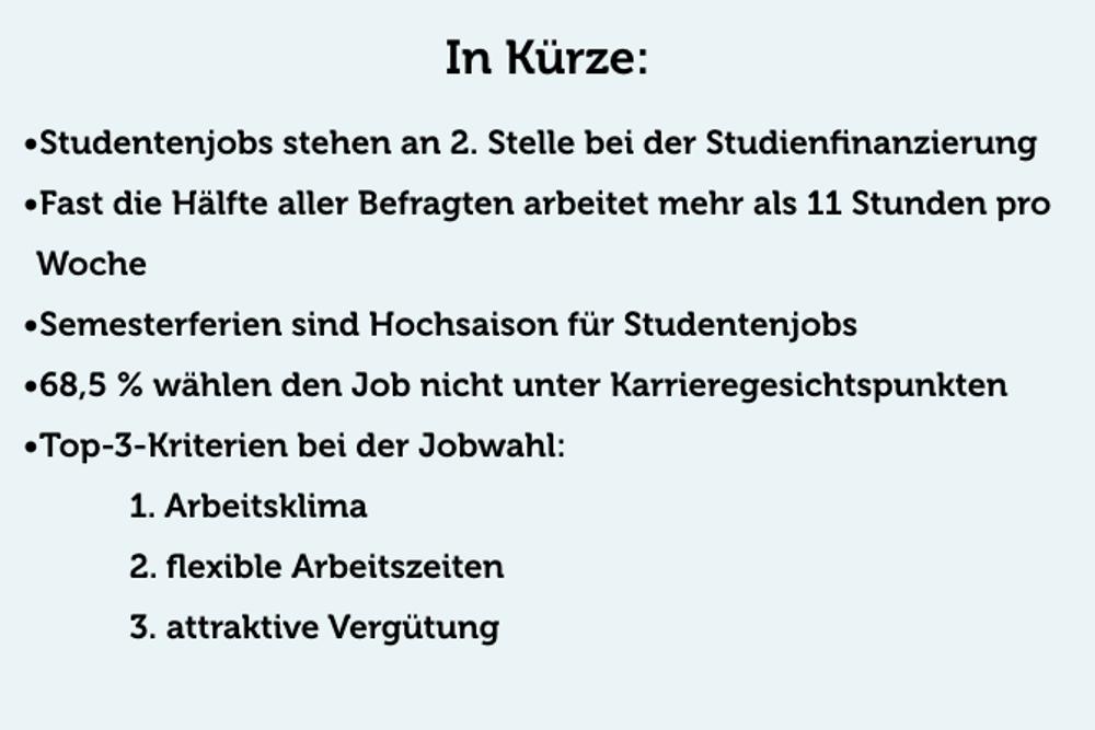Studentenjobs Statistik Nebenjobs Werkstudent Minijob