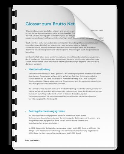 Brutto Netto Rechner 2018 Kostenlos PDF Glossar Freibetrag