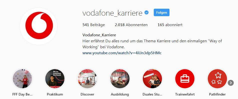 Employer Branding Best Practice Beispiele Vodafone Instagram