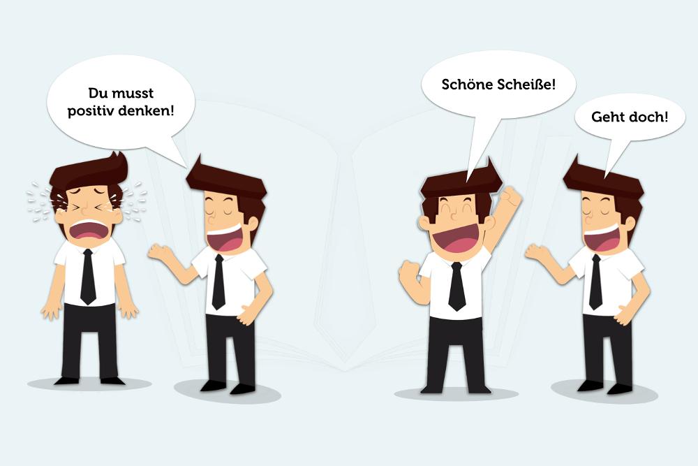 Positiv Denken Psychologie Cartoon Schoene Scheisse