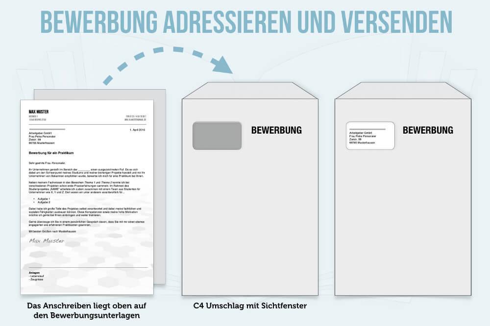 Bewerbung Umschlag C4 Beschriften Anleitung 01 Grafik