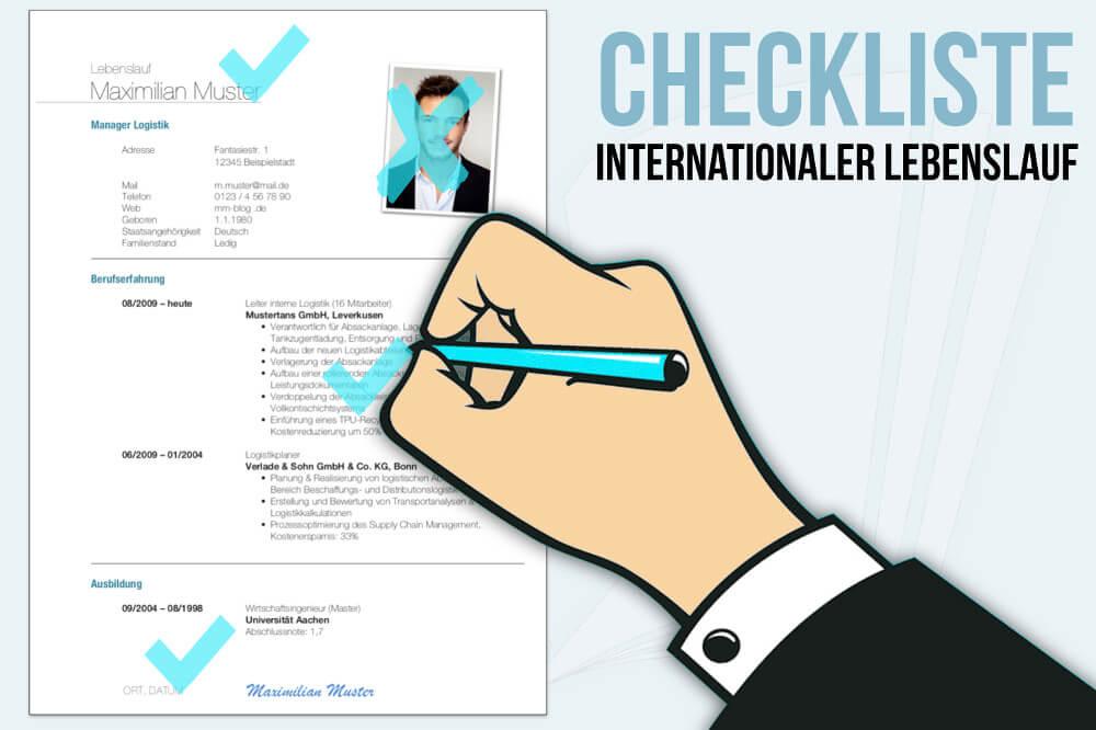 Internationaler Lebenslauf Checklisten Fur Die Bewerbung