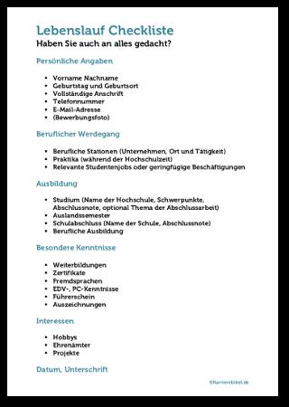 Lebenslauf Checkliste Kostenlos Herunterladen Muster