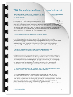 Checkliste Arbeitsvertrag FAQ PDF eBook Cover