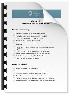 Checkliste Berufseinstieg Absolventen PDF eBook Cover